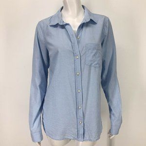 Old Navy The Classic Shirt Medium Tall Solid Blue